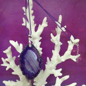 Druzy Geode Agate Necklace on Waxed Cotton Cord
